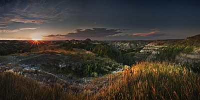 Sun Glow on Badlands