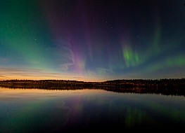 Sunset Glow, Big Dipper and Aurora